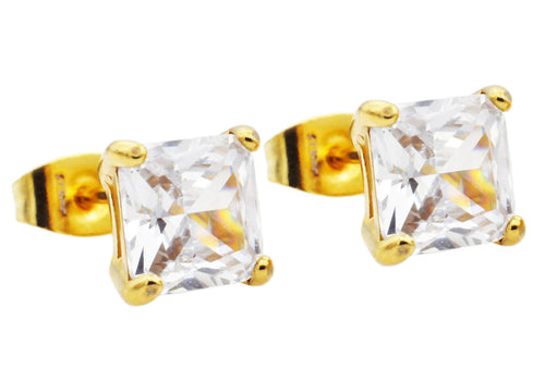 Mens 7mm Cubic Zirconia Gold Stainless Steel Square Stud Earrings - Blackjack Jewelry