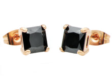 Load image into Gallery viewer, Mens 7mm Black Cubic Zirconia Rose Stainless Steel Square Stud Earrings - Blackjack Jewelry