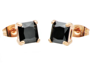 Mens Rose Plated Stainless Steel Earrings With Black Cubic Zirconia - Blackjack Jewelry