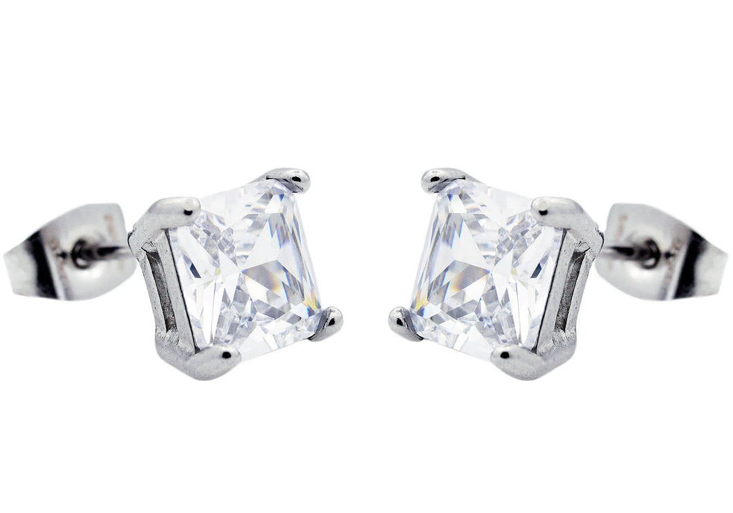 Men's 7mm Cubic Zirconia Stainless Steel Square Stud Earrings - Blackjack Jewelry