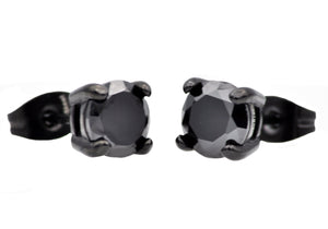 Mens Black Plated Stainless Steel Earrings With Black Cubic Zirconia - Blackjack Jewelry