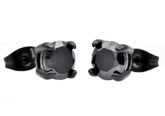 Mens Black Plated Stainless Steel Earrings With Black Cubic Zirconia