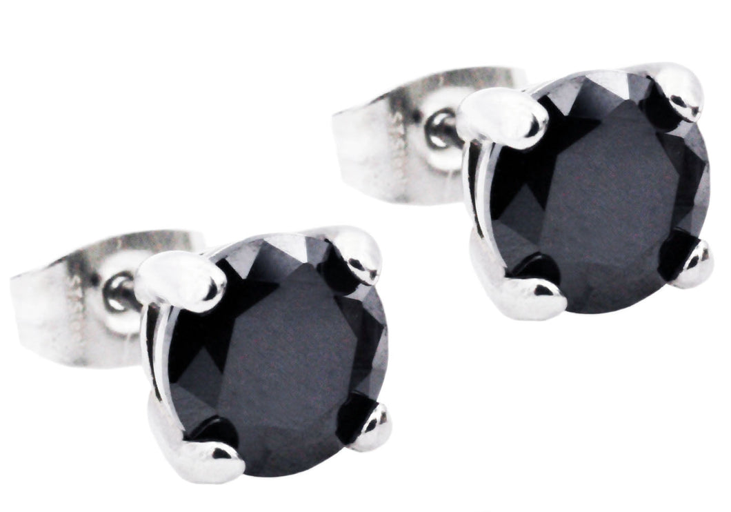 Mens 7mm Stainless Steel Earrings With Black Cubic Zirconia - Blackjack Jewelry