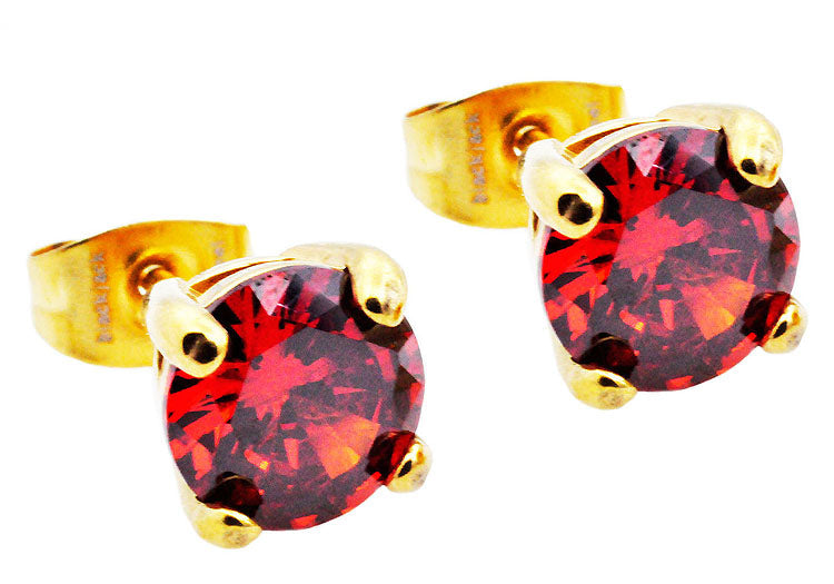 Mens 7mm Gold Stainless Steel Stud Earrings With Red Cubic Zirconia - Blackjack Jewelry