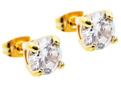 Mens Gold Plated Stainless Steel Earrings With Cubic Zirconia - Blackjack Jewelry