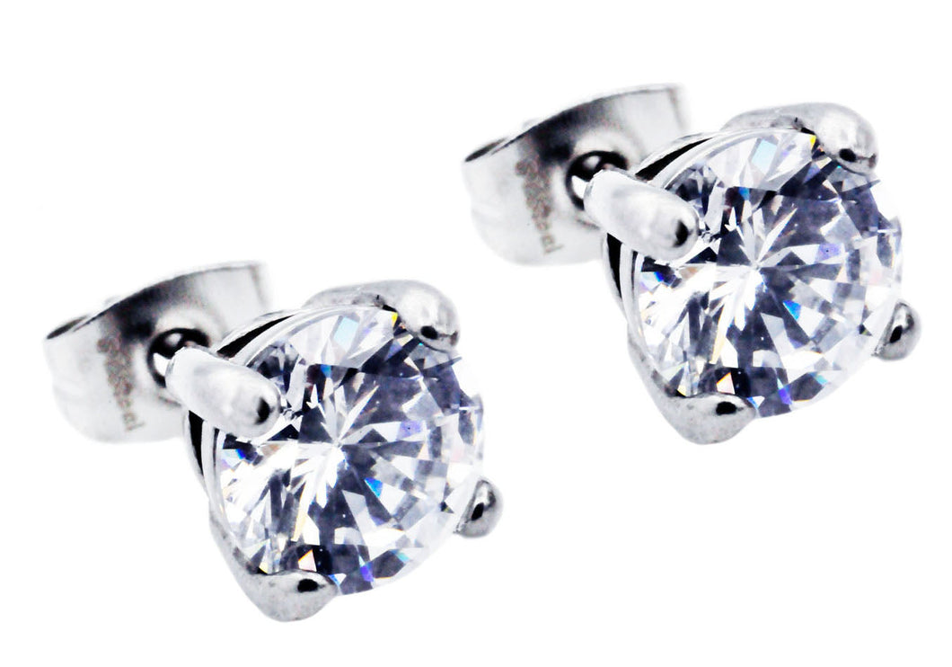 Mens 7mm Stainless Steel Earrings With Cubic Zirconia - Blackjack Jewelry