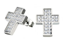 Load image into Gallery viewer, Mens Stainless Steel Cross Earrings With Cubic Zirconia - Blackjack Jewelry