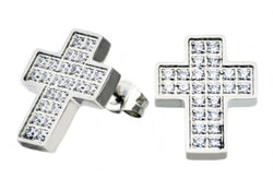 Mens Stainless Steel Cross Earrings With Cubic Zirconia