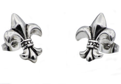 Mens Stainless Steel Fleur De Lis Earrings