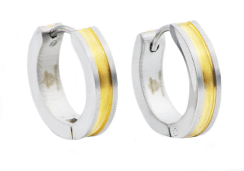 Mens Gold Plated Stainless Steel Earrings - Blackjack Jewelry