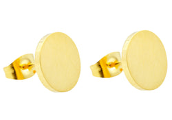 Mens Gold Plated Stainless Steel Earrings
