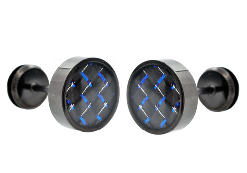 Mens Black Plated Stainless Steel Earrings With Blue Carbon Fiber - Blackjack Jewelry