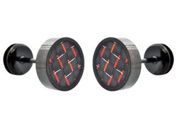 Mens Black Plated Stainless Steel Earrings With Red Carbon Fiber