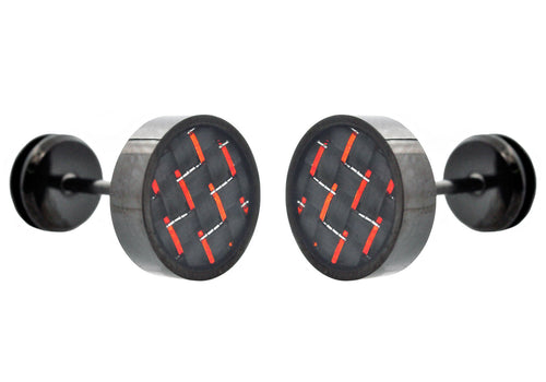 Mens 9mm Black Plated Stainless Steel Earrings With Red Carbon Fiber - Blackjack Jewelry