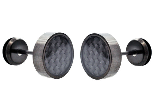 Mens Black Plated Stainless Steel Earrings With Black Carbon Fiber - Blackjack Jewelry