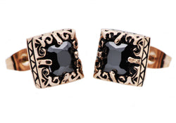 Mens Rose Plated Stainless Steel Earrings With Black Cubic Zirconia