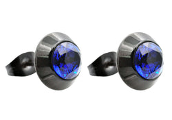 Mens Black Plated Stainless Steel Earrings With Blue Cubic Zirconia