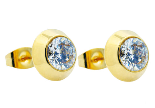 Mens 9mm Gold Stainless Steel Earrings With Cubic Zirconia - Blackjack Jewelry