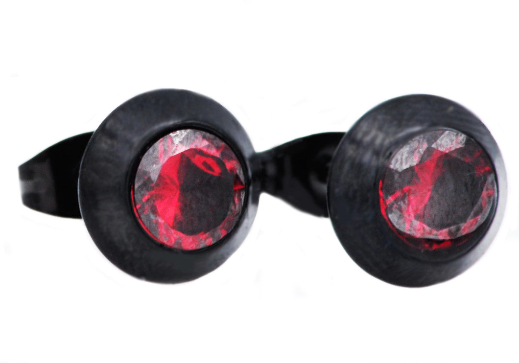 Mens Black Plated Stainless Steel Earrings With Red Cubic Zirconia - Blackjack Jewelry