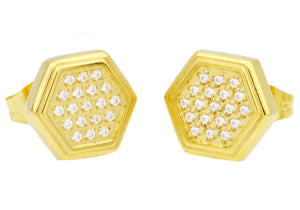 Mens Gold Stainless Steel Earrings With Cubic Zirconia - Blackjack Jewelry