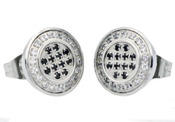 Mens Stainless Steel Earrings With Black and White Cubic Zirconia