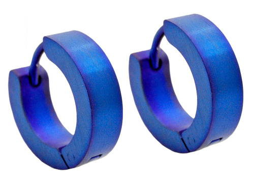 Mens Blue Plated Stainless Steel Earrings - Blackjack Jewelry