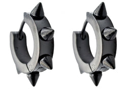 Mens Black Plated Stainless Steel Spike Earrings - Blackjack Jewelry