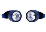 Mens Blue Plated Stainless Steel Earrings With Cubic Zirconia