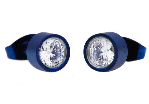 Mens 6mm Blue Plated Stainless Steel Stud Earrings With Cubic Zirconia - Blackjack Jewelry