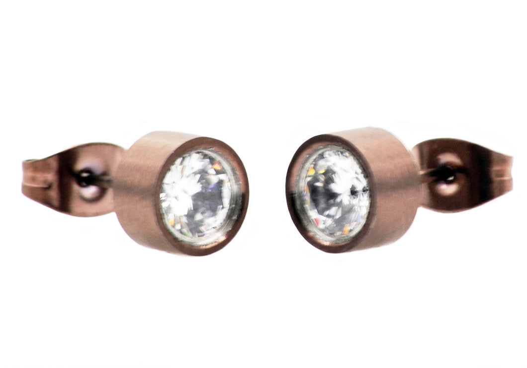 Mens 6mm Chocolate Plated Stainless Steel Stud Earrings With Cubic Zirconia - Blackjack Jewelry