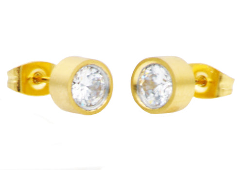 Mens 6mm Gold Stainless Steel Stud Earrings With Cubic Zirconia - Blackjack Jewelry