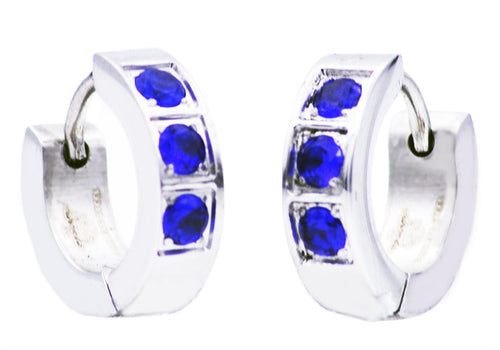 Mens 4mm Stainless Steel Earrings With Blue Cubic Zirconia - Blackjack Jewelry
