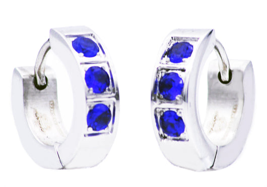 Mens Stainless Steel Earrings With Blue Cubic Zirconia - Blackjack Jewelry