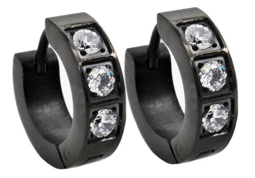Mens 14mm Black Plated Stainless Steel Hoop Earrings With Cubic Zirconia - Blackjack Jewelry