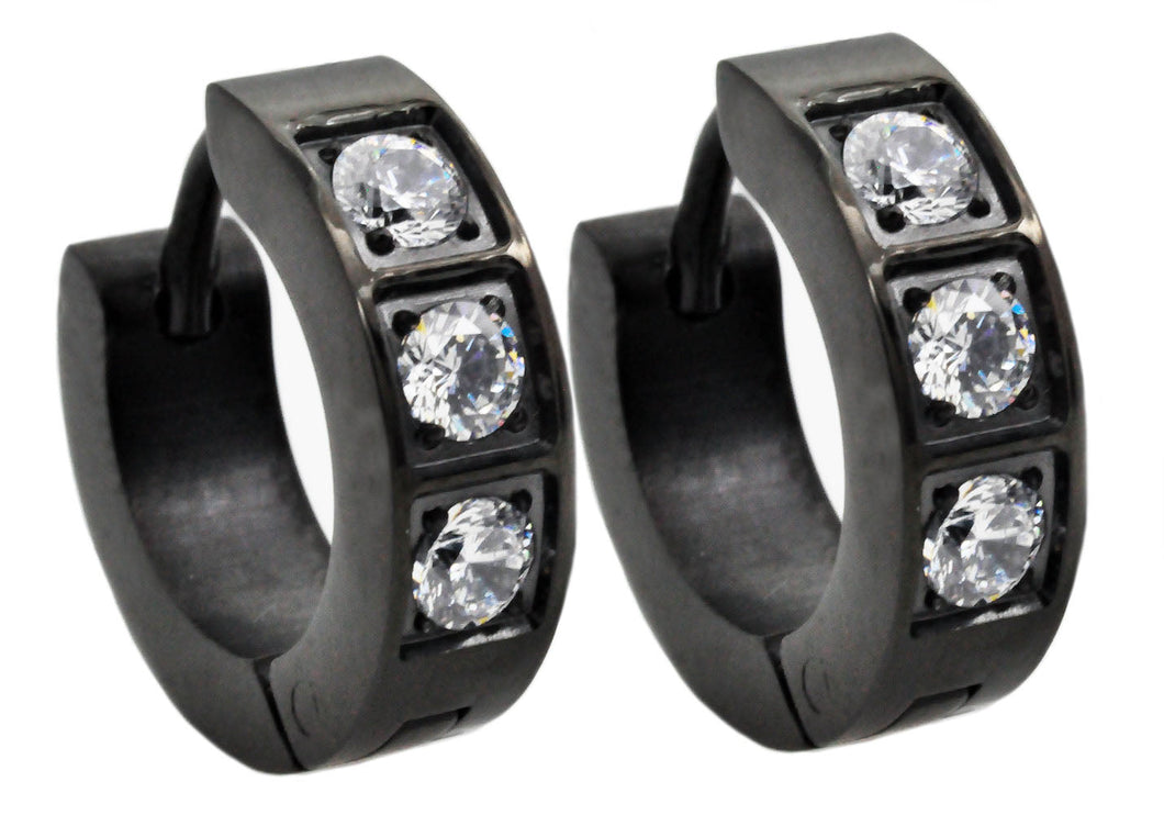 Mens Black Plated Stainless Steel Earrings With Cubic Zirconia - Blackjack Jewelry