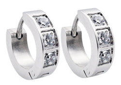 Mens Stainless Steel Earrings With Cubic Zirconia - Blackjack Jewelry