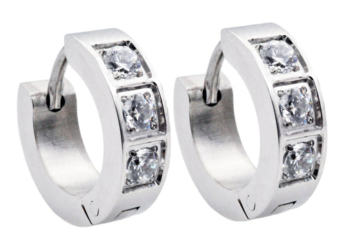 Mens 14mm Stainless Steel Hoop Earrings With Cubic Zirconia - Blackjack Jewelry