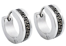 Load image into Gallery viewer, Men's 14mm Black And Stainless Steel Greek Key Hoop Earrings - Blackjack Jewelry