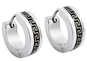 Men's 14mm Black And Stainless Steel Greek Key Hoop Earrings - Blackjack Jewelry