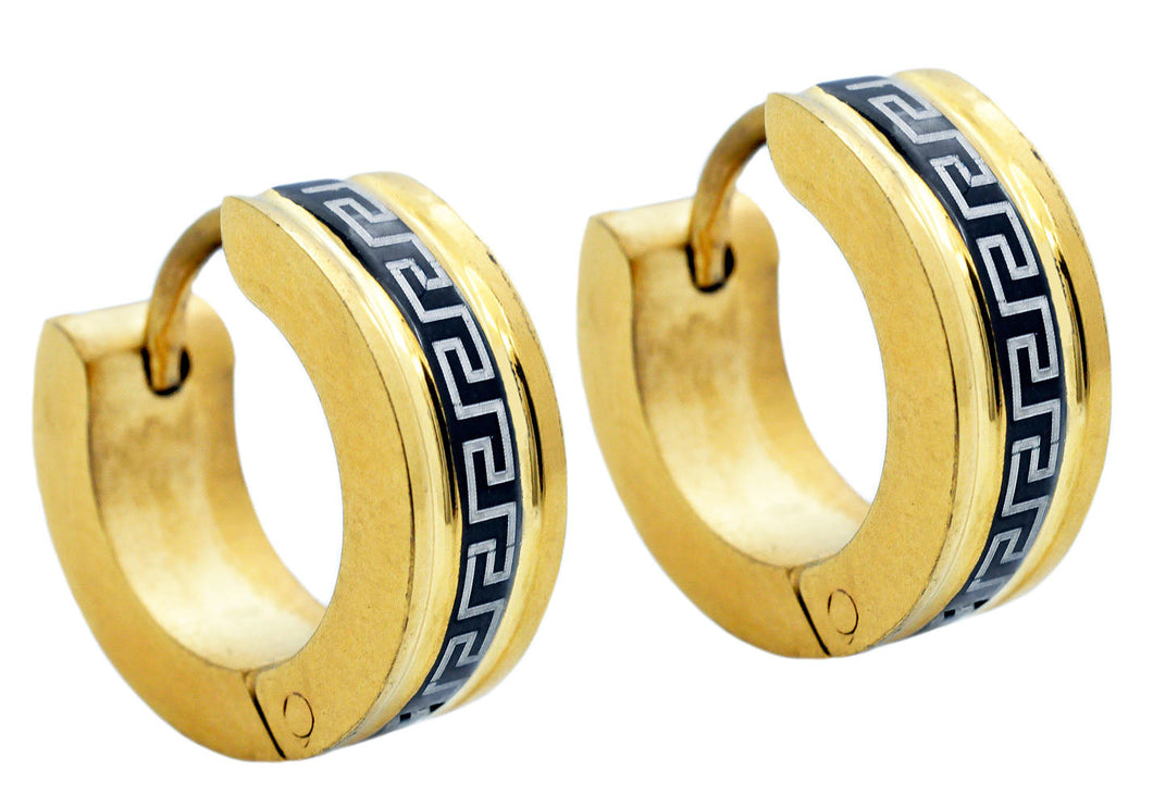 Mens Gold And Black Plated Stainless Steel Earrings - Blackjack Jewelry