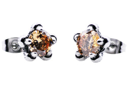 Mens Stainless Steel Claw Earrings With Champagne Cubic Zirconia