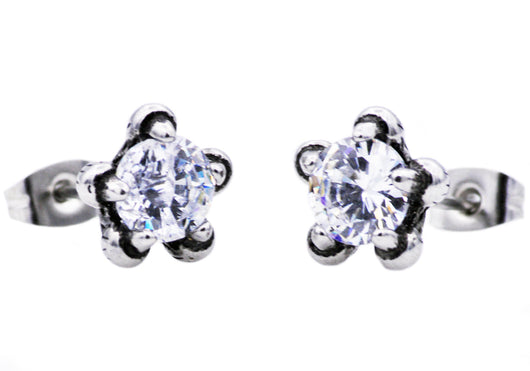 Mens Stainless Steel Claw Earring WIth Cubic Zirconia - Blackjack Jewelry