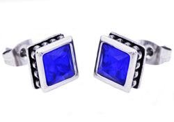 Mens Stainless Steel Earrings With Blue Cubic Zirconia