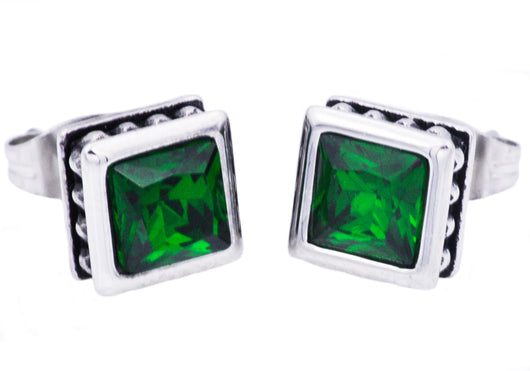 Mens Stainless Steel Earrings With Green Cubic Zirconia