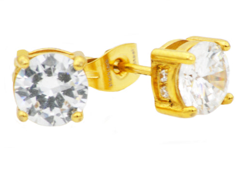 Mens 8mm Gold Stainless Steel Earrings With Cubic Zirconia - Blackjack Jewelry