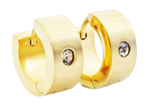 Mens 14mm Gold Plated Stainless Steel Hoop Earrings With Cubic Zirconia - Blackjack Jewelry