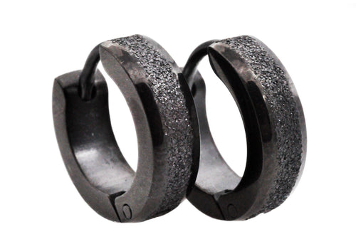 Mens Black Sandblasted Stainless Steel Earrings - Blackjack Jewelry