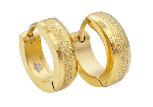 Mens 14mm Gold Plated Sandblasted Stainless Steel Hoop Earrings - Blackjack Jewelry