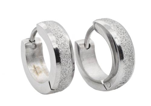 Mens 14mm Sandblasted Stainless Steel Hoop Earrings - Blackjack Jewelry