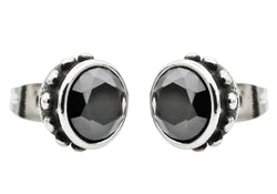 Mens Stainless Steel Earrings With Black Cubic Zirconia - Blackjack Jewelry